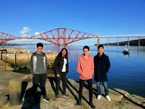 Host family and students at Forth Rail Bridge