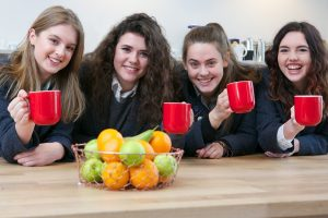 boarding school students enjoying a cup of tea